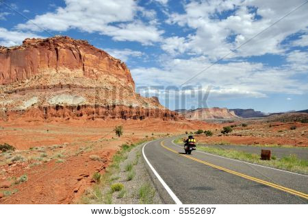 Motorcycle In Capitol Reef National Park