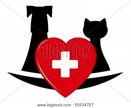 veterinary symbol with pets and heart