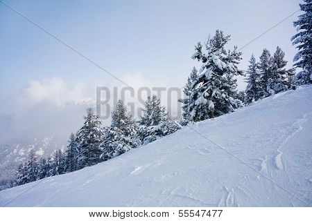 Ski Slope And Winter Mountains Panorama