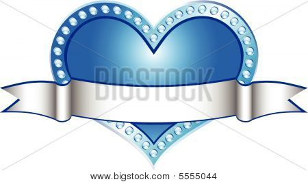 Heart Blue With White Line (vector)