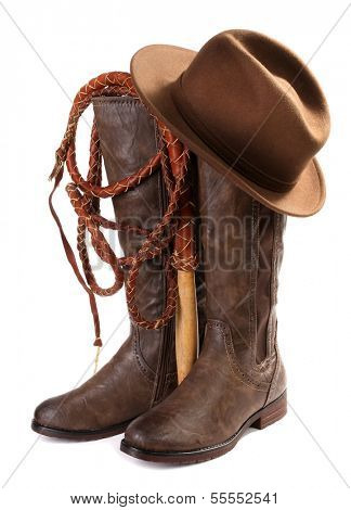 Brown leather boots, hat and whip