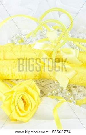 Beautiful hanger on fabric background