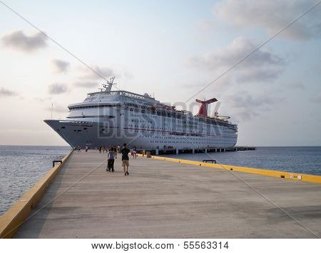 Carnival Imagination sits at the port in Cozumel, Mexico
