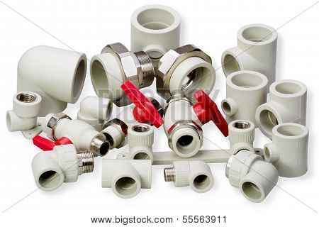 Plumbing fixtures and piping parts plastic fittings poster