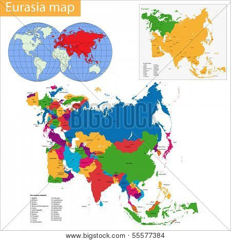 Vector map of Eurasia drawn with high detail and accuracy