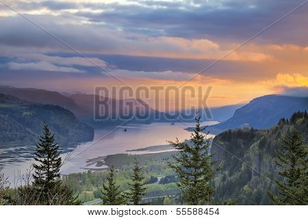 Sunrise Over Crown Point At Columbia River Gorge