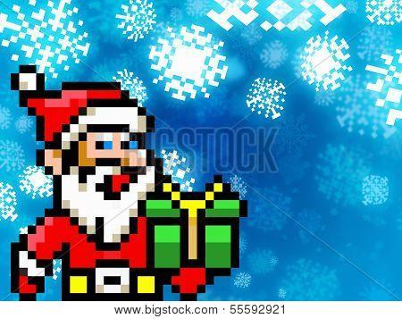 Santa Claus Retro Pixel Game 8-bit Style Background
