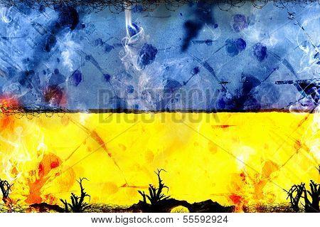 Ukraine Flag - Political Conflict Strike Concept