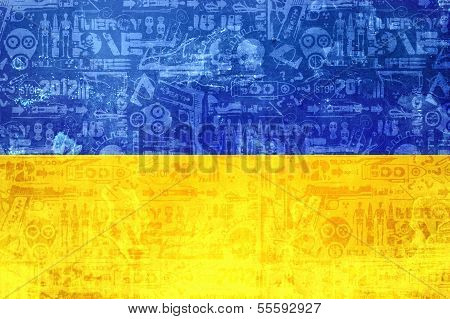 Flag Of Ukraine - Abstract Conflict News Background