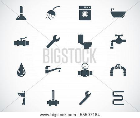 Vektor schwarz Sanitär Icons set