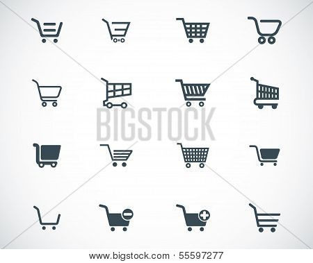 Vector black shopping cart icons set