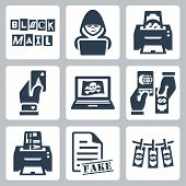 Vector criminal activity icons set: blackmail hacking counterfeiting cardsharping piracy passport forgery skimming forgery of documents money laundering poster