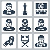Vector cinema and filmmaking icons set: critic award movie theater cameraman director script writer ticket director chair moviegoer poster