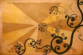 decorative patterns on a grungy background poster
