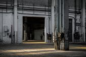 Industrial interior of an old factory building poster