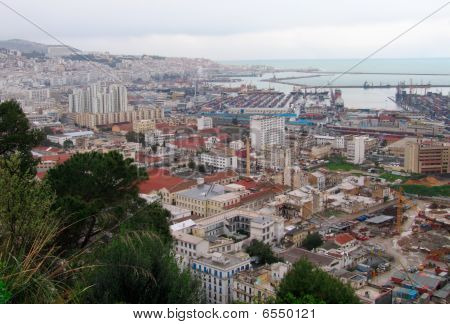 overview of Algiers capital city of Algeria country Belouizdad suburb and port - Northern africa poster