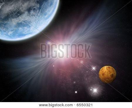 Universe - Starfield Planets And Nebula
