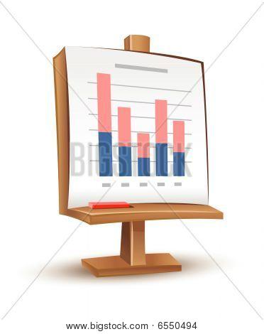 hölzerne Stand mit Analytics Graphbericht