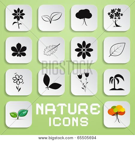 Nature Paper Vector Icons Set with Flowers, Leaves and Trees Symbols