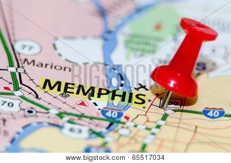 memphis tn city pin on the map poster