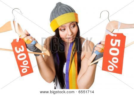 Woman Thinking About Sale