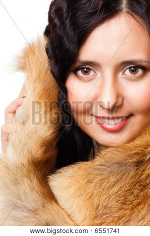 Face Of A Woman With Fur