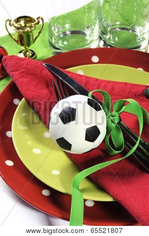 Soccer Football Party Table Red White And Green Team Colors - Close Up.