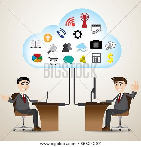 Cartoon Businessman With Cloud Computer Connecting