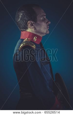 Honor,  general of the Spanish army, blue coat and gold epaulettes