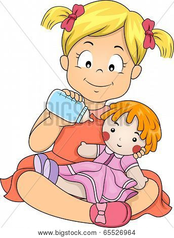 Illustration of a Little Girl Feeding Her Doll with Milk