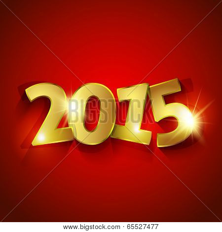 Golden 2015 Year On Red Background  Greeting Card