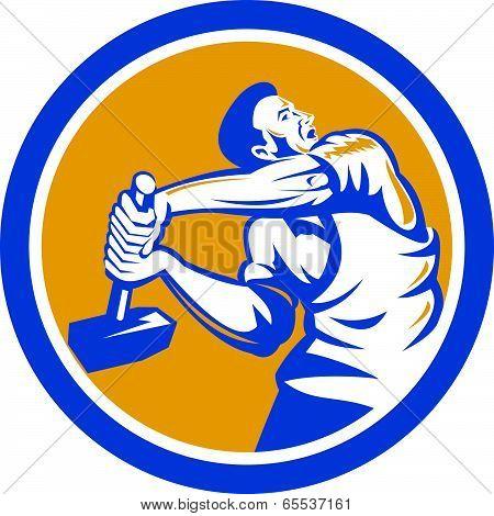 Union Worker Strike With Sledgehammer Retro