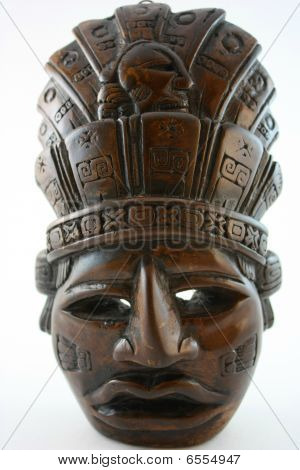 Mayan carved mask, upright
