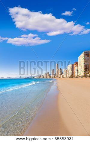 Benidorm Alicante Levante beach in blue Mediterranean Spain