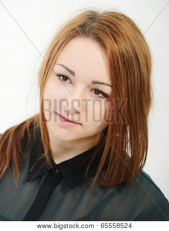 Girl posing for portraits in studio