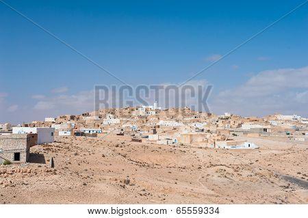 Town of Tamezret in Sahara desert, Tunisia