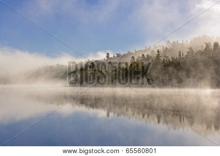 Fog And Reflections In The North Woods