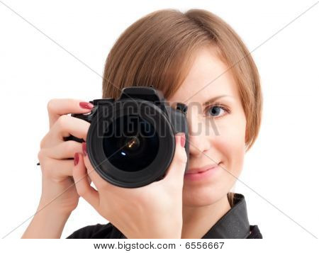 Pretty Girl With Photo Camera
