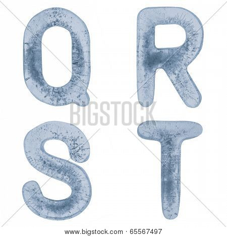Letters Q, R, S And T In Ice