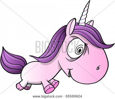 Crazy Insane Unicorn Pony Horse Vector Illustration Art