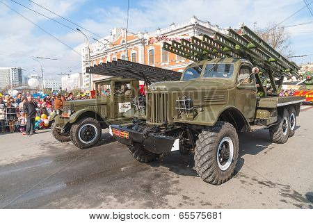 Katyusha multiple rocket launchers on parade