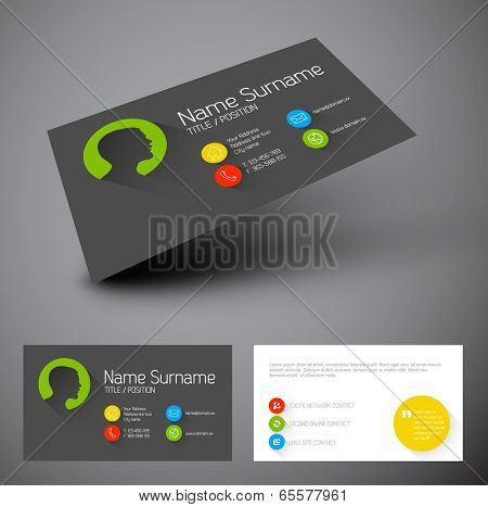 Modern simple business card template with flat user interface and long shadows