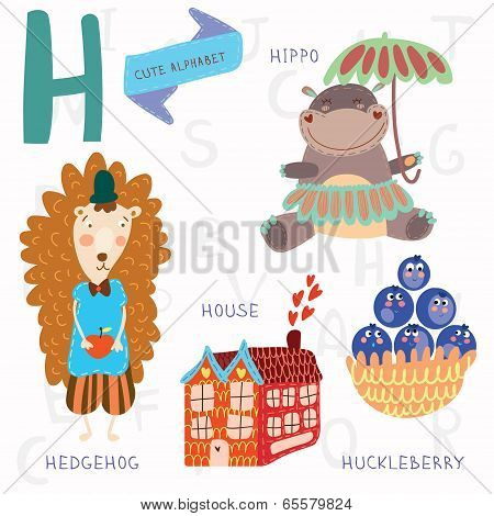 Very Cute Alphabet.h Letter. Hedgehog, House, Hippopotamus,huckle Berry.