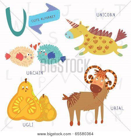 Very Cute Alphabet.u Letter. Urial,urchin,unicorn,ugli Fruit.