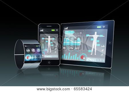 Futuristic wrist watch with tablet and smartphone on dark background poster