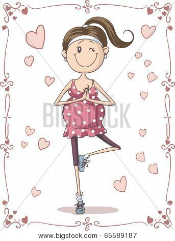 Pregnant Exercise Cartoon Vector Cartoon