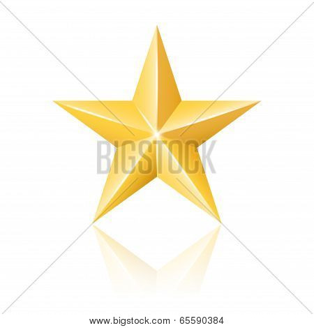 Gold Star. Vector Illustration
