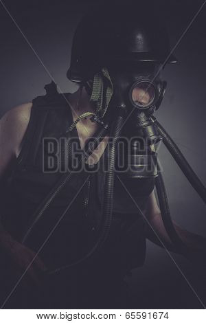 Environment, nuclear and toxicological disaster ,man with gas mask