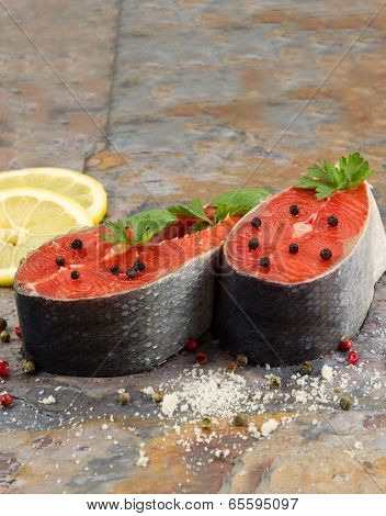 Fresh Raw Salmon Steaks Ready For Cooking