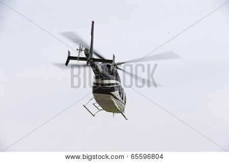 Concord, NC - May 25, 2014:  NASCAR driver, Kurt Busch, boards his Bell Helicopter 429 at Concord Airport to fly to Charlotte Motor Speedway to run the Coca-Cola 600 NASCAR race at Concord, NC.